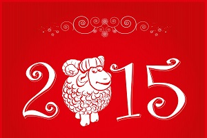 Funny sheep happy new year 2015 red wallpaper